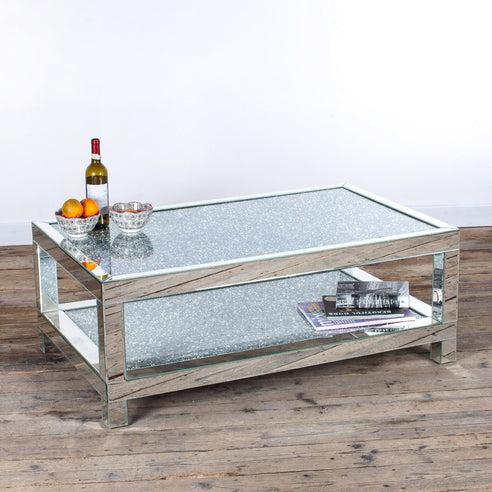Diamond Crush Mirrored Venetian Glass Large Coffee Table (120 x 75 x 45cm)