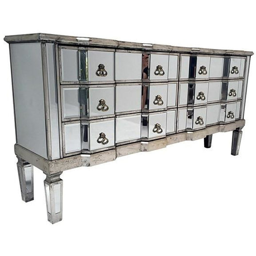 Venetian Glass Vintage Glam Mirrored Long Sideboard (6 Drawer, 147 x 36 x 73cm)