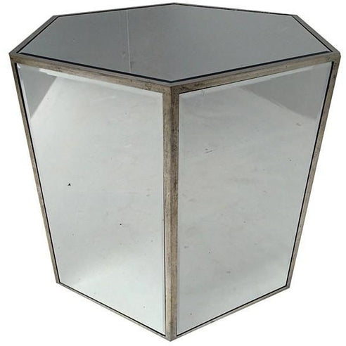 Venetian Glass Vintage Glam Mirrored Mirrored Hex Side Table (55 x 50 x 58cm)