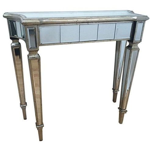 Venetian Glass 'Marbella' Mirrored Slim Console Table (90 x 35 x 80cm)