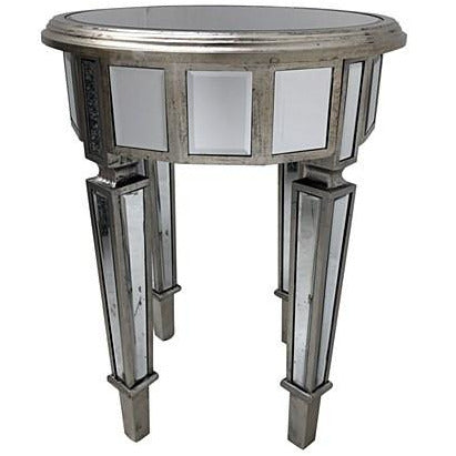 Venetian Glass Vintage Glam Mirrored Circular Side Table (43 x 43 x 63cm)