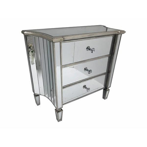 Venetian Glass 'Marbella' Mirrored Chest of 3 Drawers (90 x 40 x 80cm)
