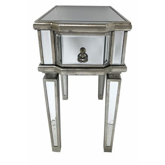 Venetian Glass Vintage Glam Mirrored Narrow Bedside table (1 Drawer, 33 x 55 x 62cm)