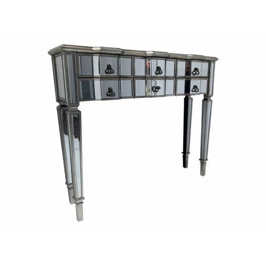 Venetian glass vintage glam mirrored silver console table