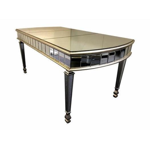 New York venetian mirrored 6 seater glass dining table