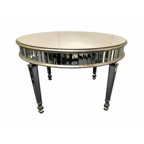 New York venetian mirrored round glass dining table