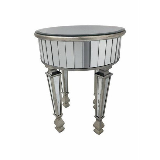 New York venetian mirrored round glass side table