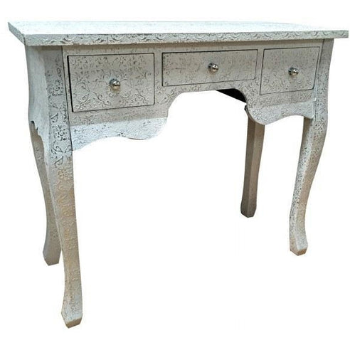 Frosted silver embossed metal console table