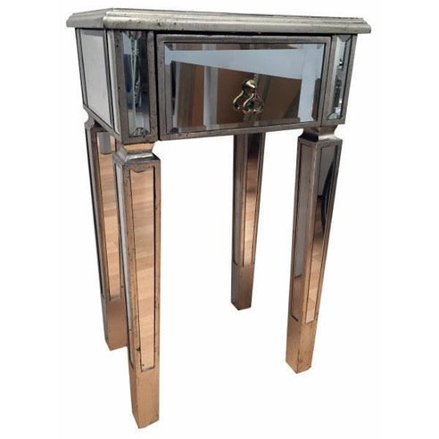 Venetian Glass Vintage Glam Mirrored Silver Bedside table (1 Drawer, 42 x 33 x 72cm)