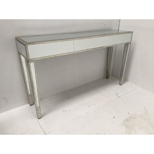 Venetian Glass Vintage Glam Mirrored Silver Gilded Console Table (140 x 35 x 80cm)