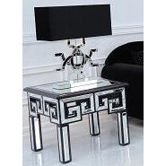 Metropolis Art Deco Venetian Mirrored Side Table - Black (60 x 60 x 51cm)