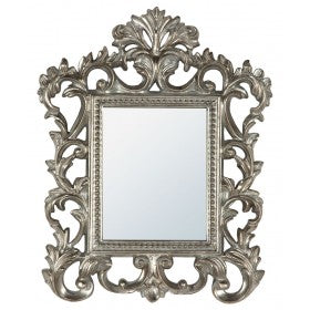 Antique Silver French Baroque Style Wall Mirror (40 x 50cm)