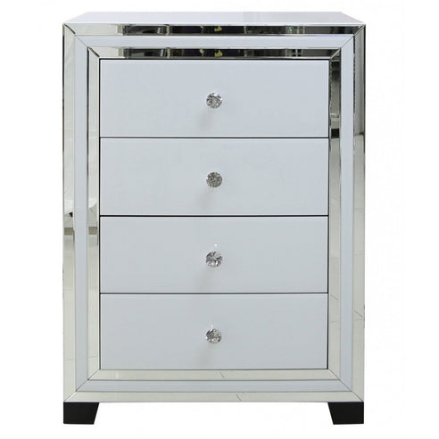 White Metro Mirrored Chest of 4 Drawers (76.5 x 45 x 106.5cm)