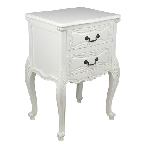 White 'Chateau' French Style Large Bedside Table / Chest (50 x 40 x 72cm)