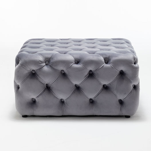 Luxurious Grey Velvet Coffee Table Pouffe