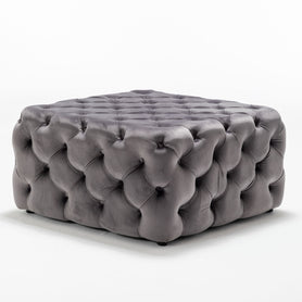Luxurious Dark Grey Velvet Coffee Table Pouffe