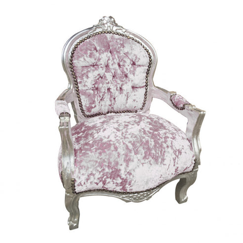 Childs Pale Pink Crushed Velvet French 'Louis Style' Armchair with Silver Gilt Frame