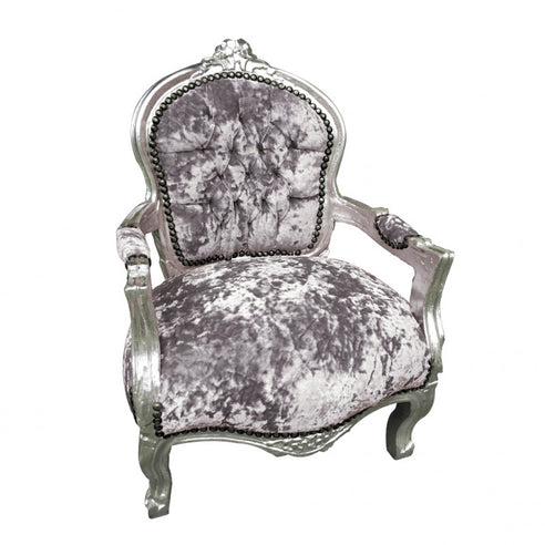 Childs Grey Crushed Velvet French 'Louis Style' Armchair with Silver Gilt Frame