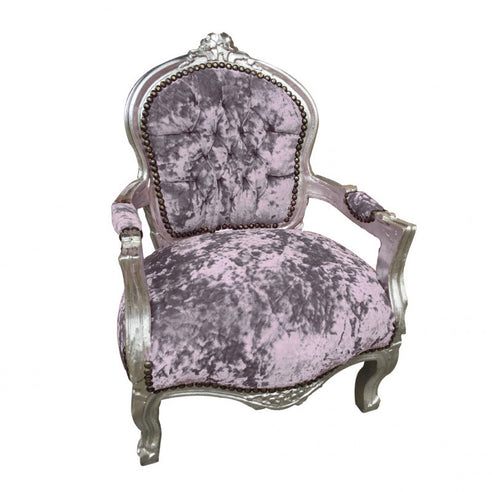 Superb Childs Lilac Crushed Velvet French U0027Louis Styleu0027 Armchair With Silver Gilt  Frame