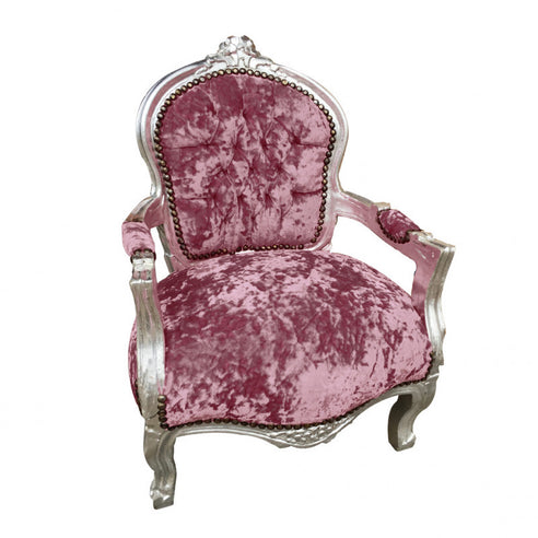 Childs dusty pink crushed velvet french arm chair