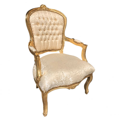 Light Gold Floral Damask French 'Louis Style' Armchair with Gold Gilt Frame