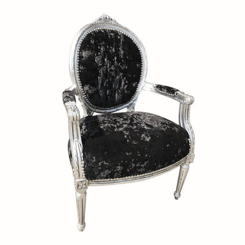 Black Velvet French 'Louis Style' Oval Back Armchair with Silver Gilt Frame