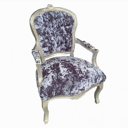 Grey Crushed Velvet French 'Louis Style' Armchair with Silver Gilt Frame