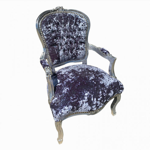 Grey Diamante Crushed Velvet French 'Louis Style' Armchair with Silver Gilt Frame