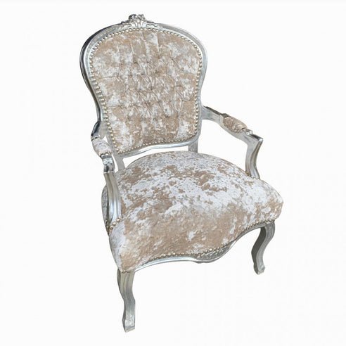 Cream crushed velvet silver frame french arm chair