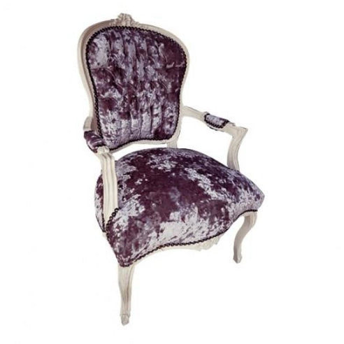 Dark Brown Crushed Velvet French 'Louis Style' Armchair with Cream Frame