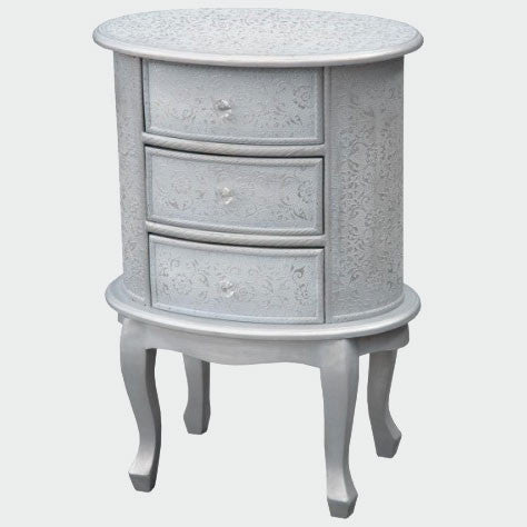 Frosted silver embossed metal oval bedside table