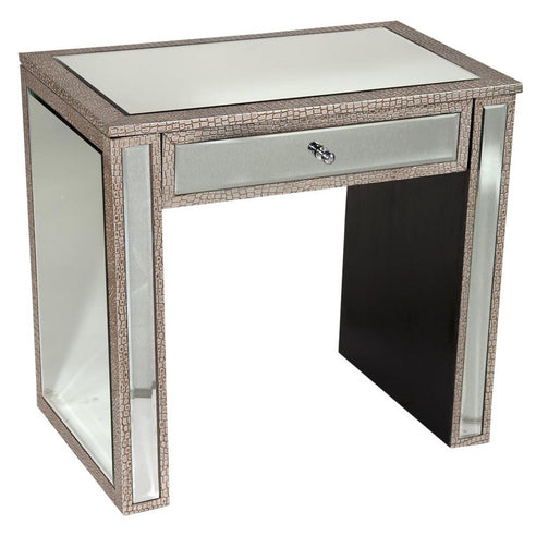 Mock Croc Mirrored Silver Bedside Cabinet (1 Drawer, 60.5 x 40.5 x 68cm)