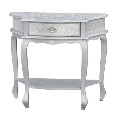 Frosted silver embossed metal 1 drawer console table