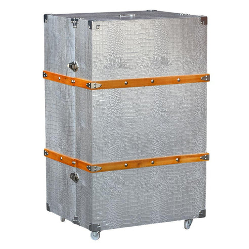 Mock Croc Silver Chest of 5 Drawers Luggage Trunk Style (60 x 50 x 100cm)