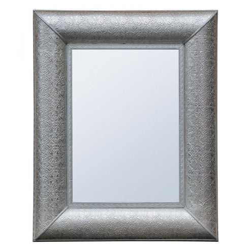 Silver Embossed Rectangular Large Wall Mirror (80 x 100cm)