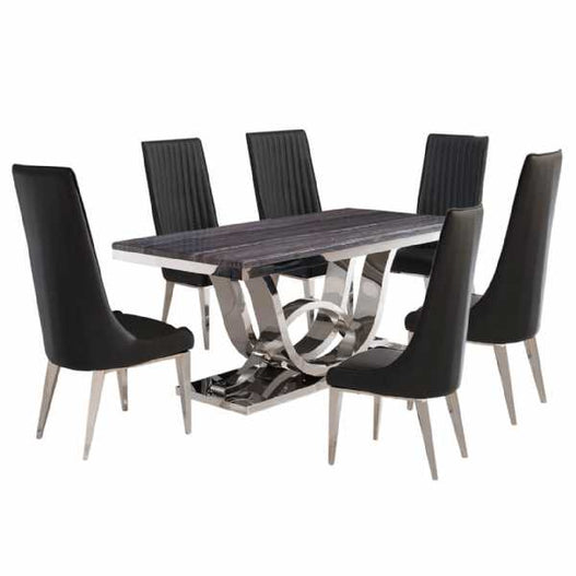 Saturn Dark Grey Marble and Chrome Dining Table Set with 6 Chairs