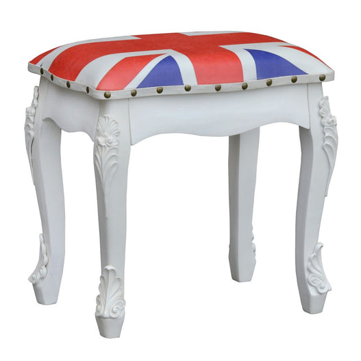 Vintage Antique White Union Jack Dressing Table Stool (44 x 32 x 48cm)
