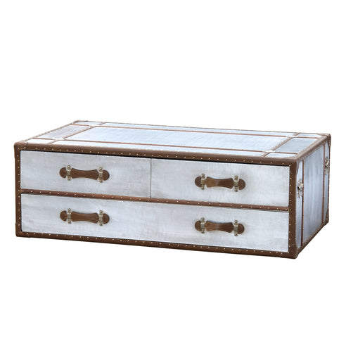 Silver Industrial Style Aluminium Trunk Coffee Table (125 x 75 x 46cm)