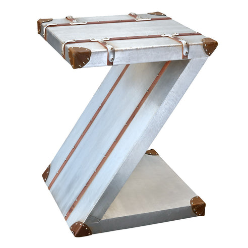 Silver Industrial Style Aluminium Zig Zag Side Table (45 x 45 x 60cm