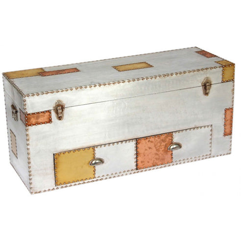 Silver and Copper Industrial Style Aluminium Trunk