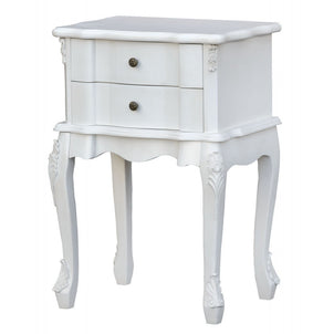 Laura White French Style Bedside Table With 2 Drawers (48 X 71 X 36cm)