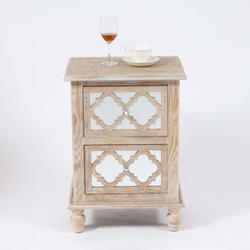 Seville Mirrored Wood Lattice 2 Drawer Bedside