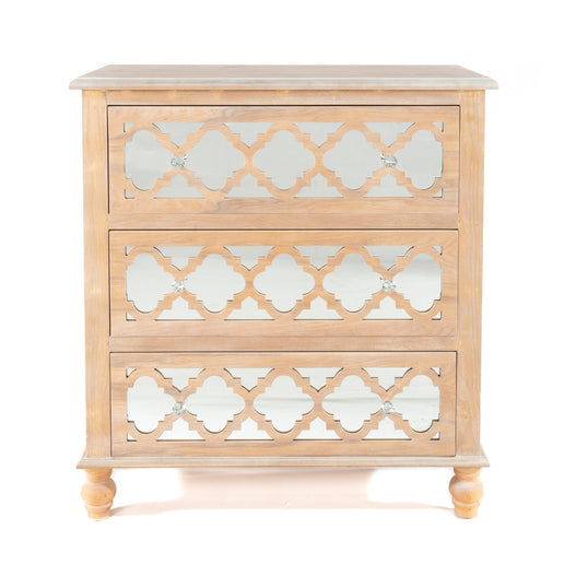 Seville Mirrored Wood Lattice 3 Drawer Tall Chest of Drawers