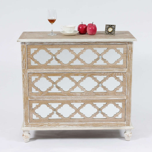 Seville Mirrored Wood Lattice 3 Drawer Chest of Drawers