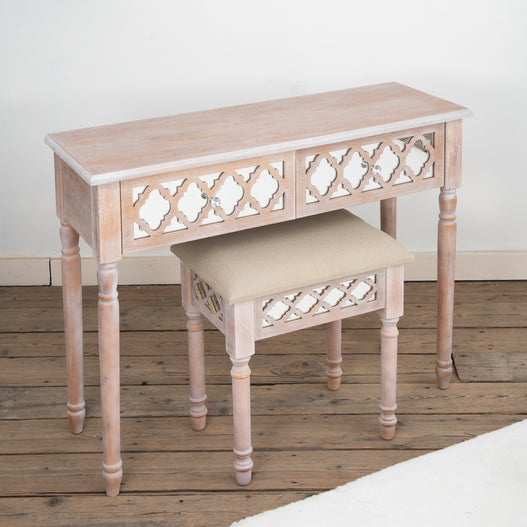 Seville Mirrored Wood Lattice Dressing Table and Stool Set