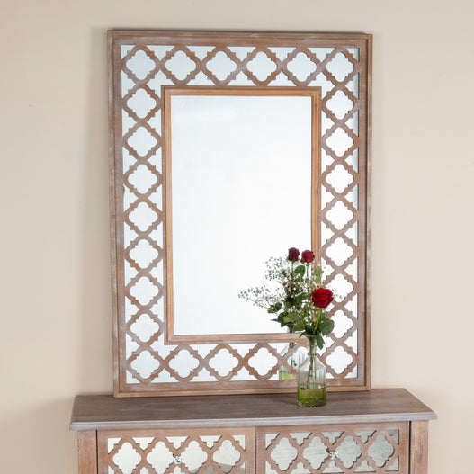 Seville Mirrored Wood Lattice Wall Mirror
