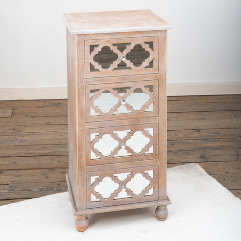 Seville Mirrored Wood Lattice Narrow Chest of Drawers
