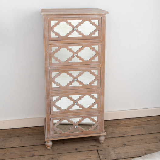 Seville Mirrored Wood Lattice Tallboy Chest of Drawers