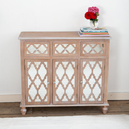 Seville Mirrored Wood Lattice 3 Door Sideboard