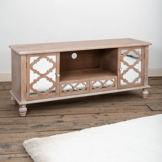 Seville Mirrored Wood Lattice TV Media Unit